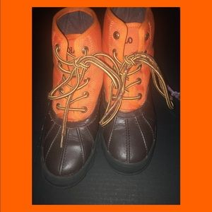 Pre-Loved Orange and Brown Polo Boots Boys Size 3